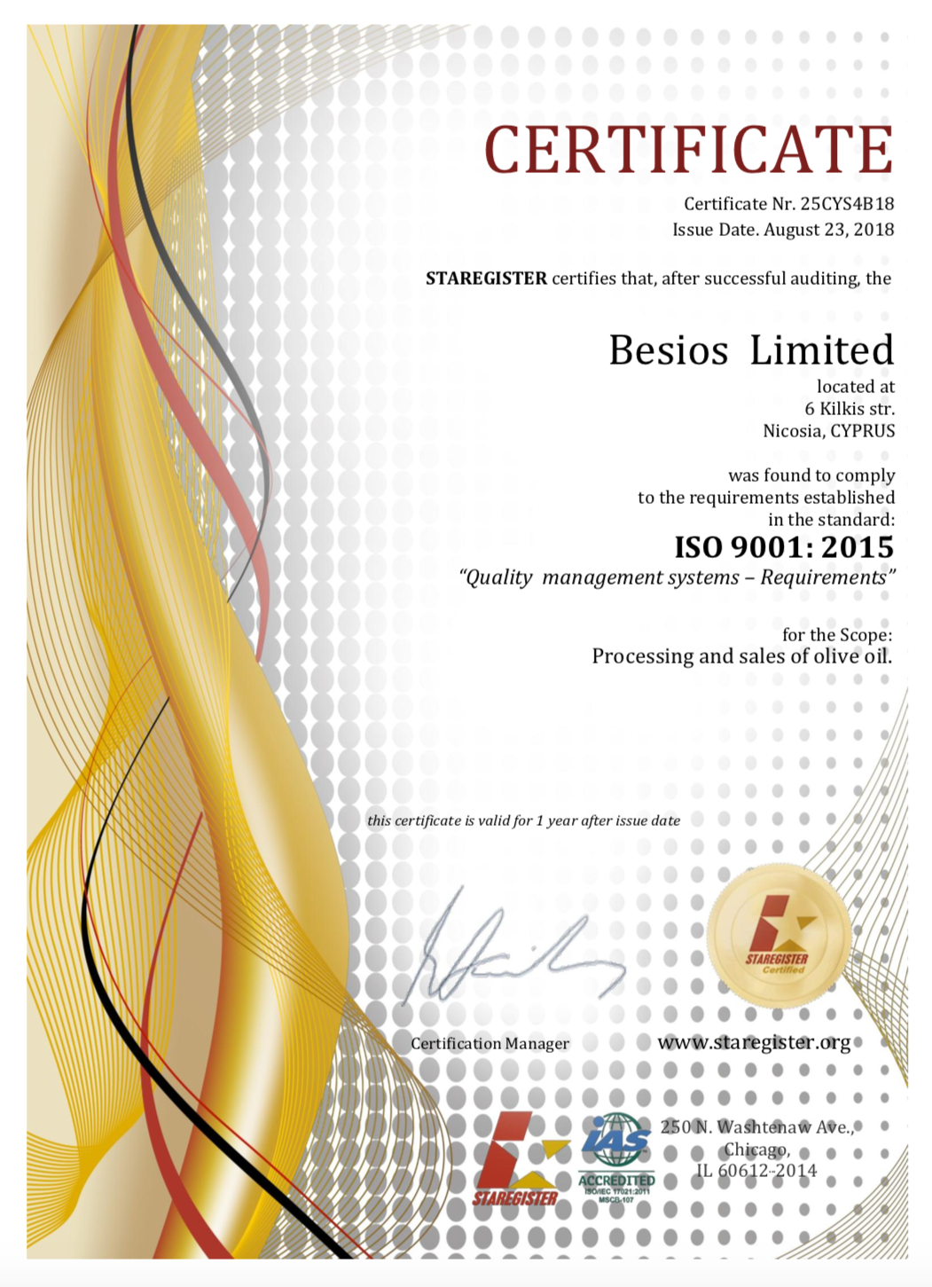 New Quality Management Systems Certification for Besios Limited